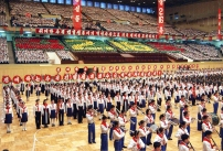 North Korean pupils sing to celebrate th
